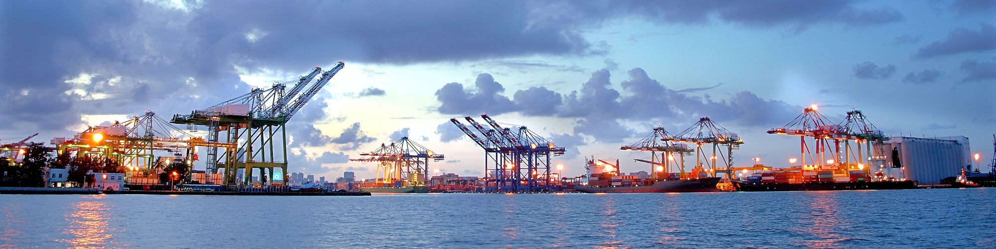 Beautiful view of the container port of Kaohsiung at dusk